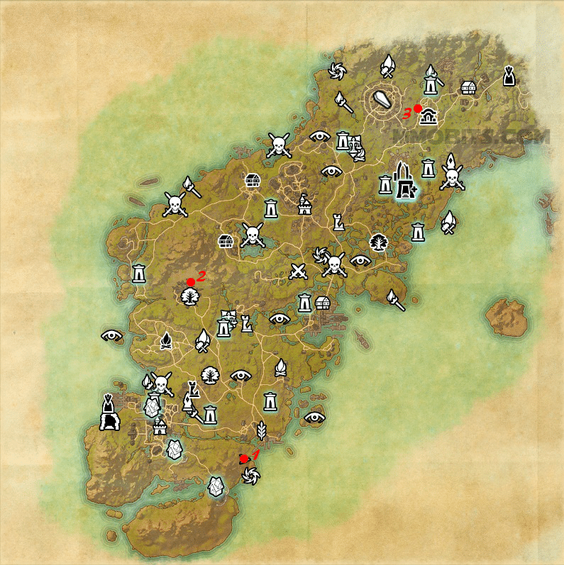 Psijic Order Time Breach locations map - Glenumbra