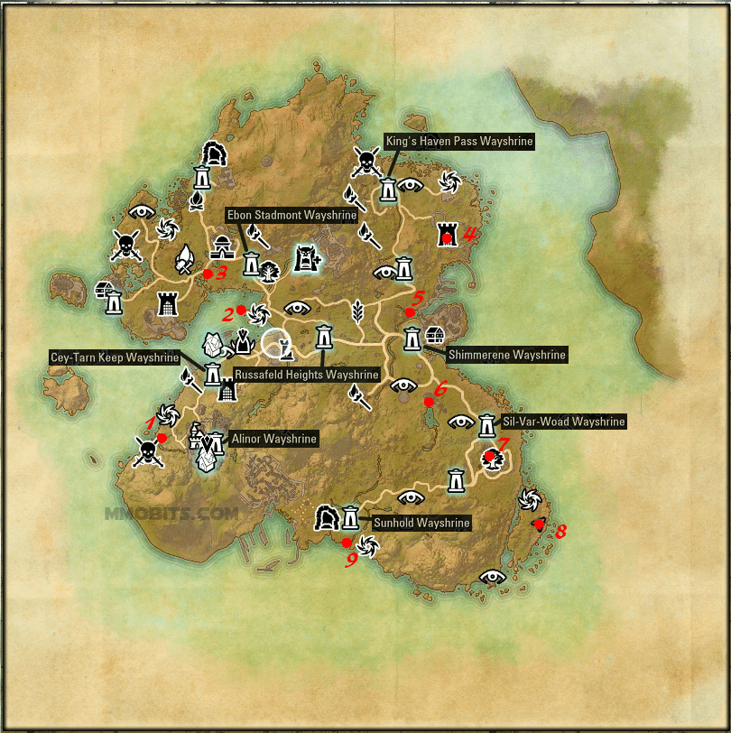 Psijic Order Time Breach locations map Summerset