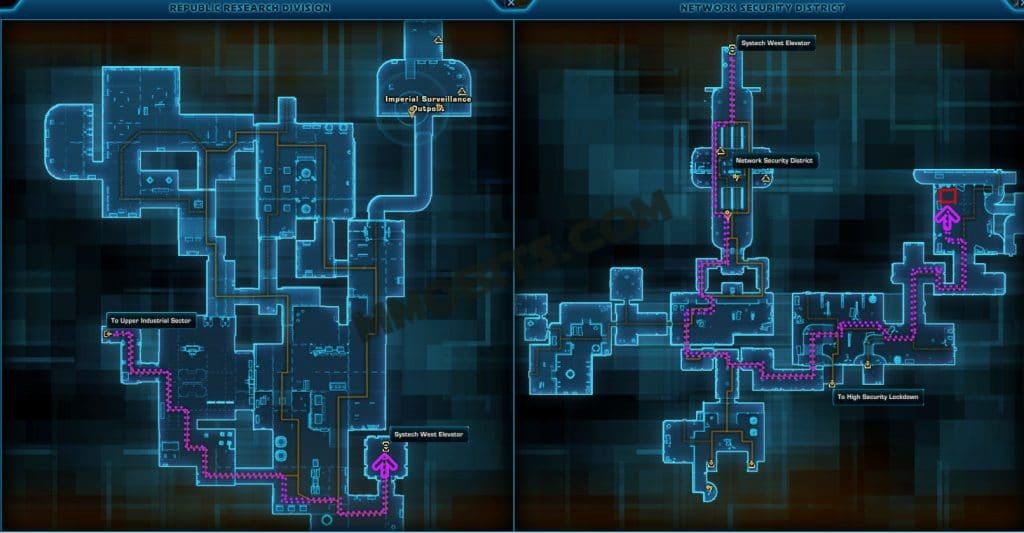 Star Wars The Old Republic R4-GL Nar Shaddaa World Boss Map Location Imperial