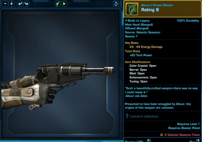 SWTOR Galactic Seasons Rewards Altuur's Ornate Blaster