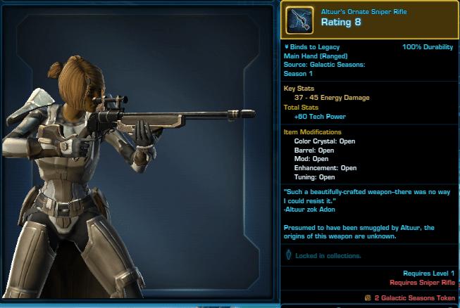 SWTOR Galactic Seasons Rewards Altuur's Ornate Sniper Rifle