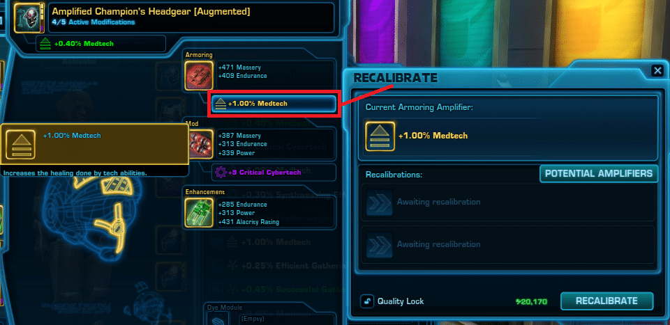 SWTOR Amplifers Guide - Recalibration access armor
