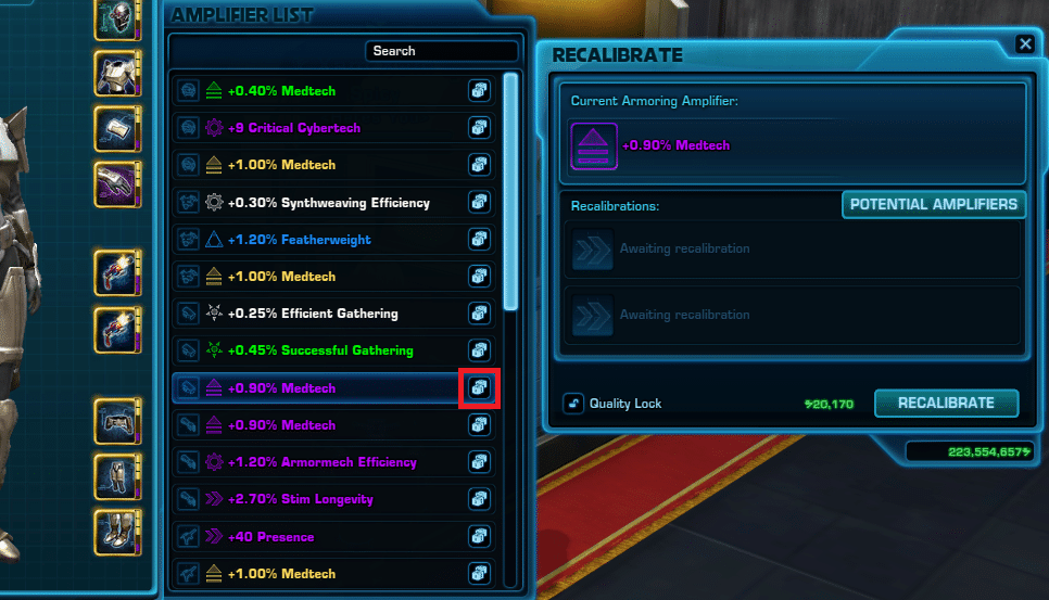 SWTOR Amplifiers Guide - Recalibration access list
