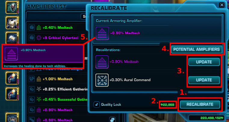 SWTOR Amplifiers Guide -  Recalibrating/Reroll Infographic