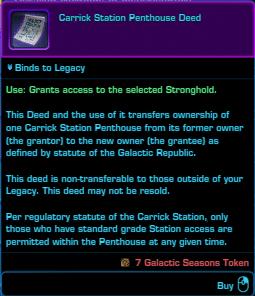 SWTOR Galactic Seasons Rewards Republic Fleet Stronghold Deed