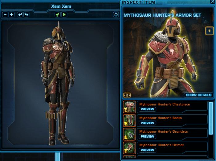 Cartel Market Items Preview Mythosaur Hunter's Armor Set