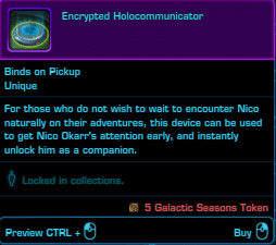 SWTOR Galactic Seasons Rewards Nico Okarr Companion