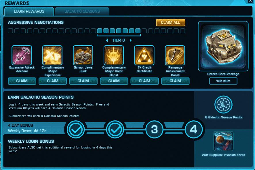 SWTOR Galactic Seasons Login Rewards Points