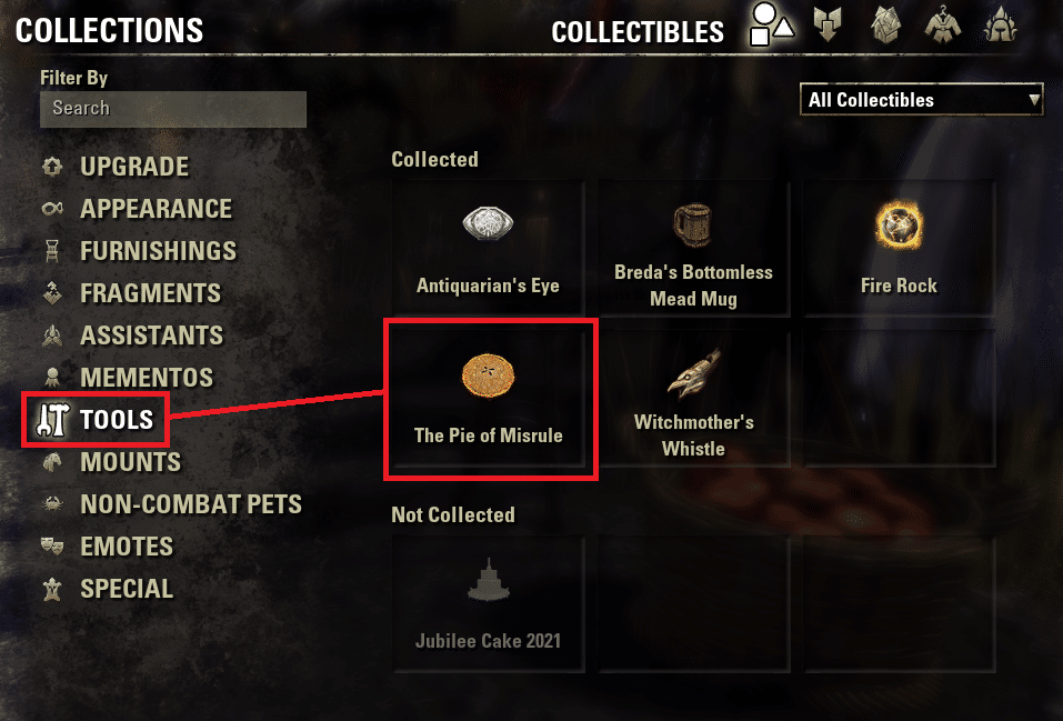 ESO Jester's Festival Pie of Misrule new location in Collections under Tools