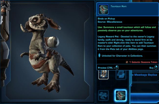SWTOR Galactic Seasons Rewards Tauntaun Ram Pet
