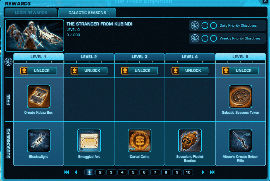 SWTOR Galactic Seasons 1 Galactic Seasons UI