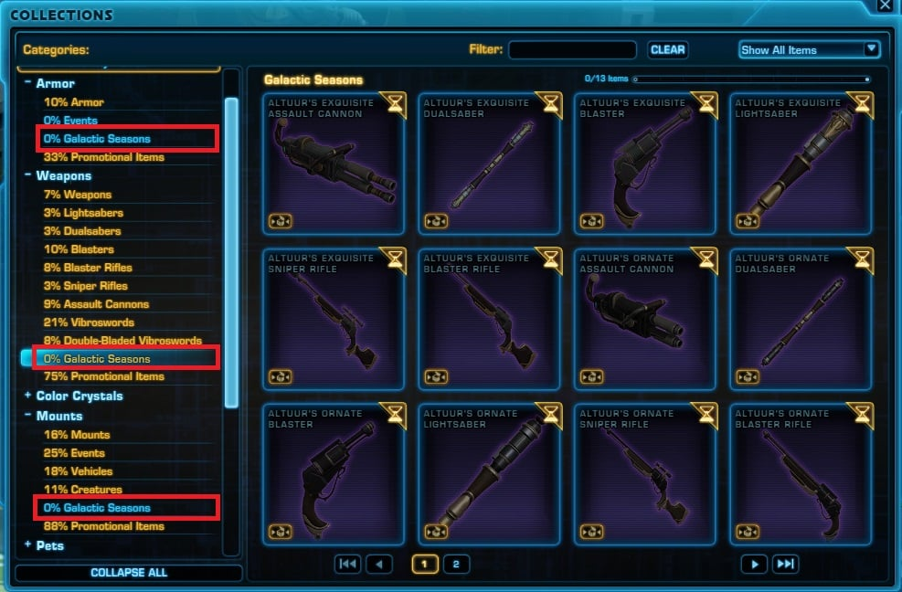 SWTOR Galactic Seasons Rewards in Collections