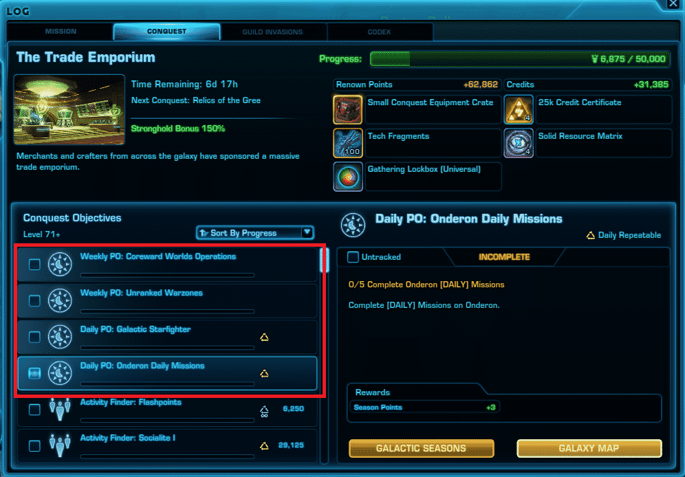 SWTOR Galactic Seasons 1 Priority Objectives