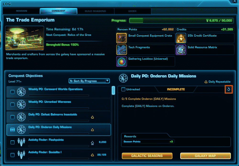 SWTOR Galactic Seasons 1 Refreshing Priority objectives